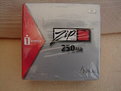 Iomega Zip 250Mb Pc Discs Pack Of 4 New Sealed
