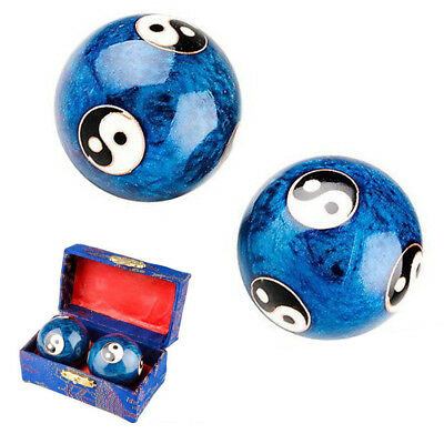 2x 45mm Chinese Baoding Balls Health Exercise Stress Relaxation Therapy Yin Yang