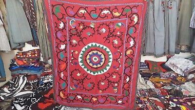 Uzbek Red ish  Suzani Pure Silk Hand Embroidered in 80's  <1um>
