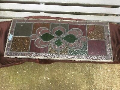 Vintage Art Deco stained glass leaded window panel, 64cm X 27cm.