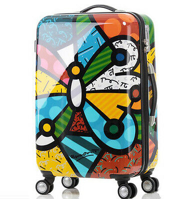 "28""Cartoon Butterfly Universal Wheel Children Travel Suitcase Luggage Trolley#"