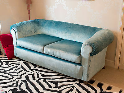 Stunning Antique Edwardian / Victorian Sofa In Designers Guild Fabric