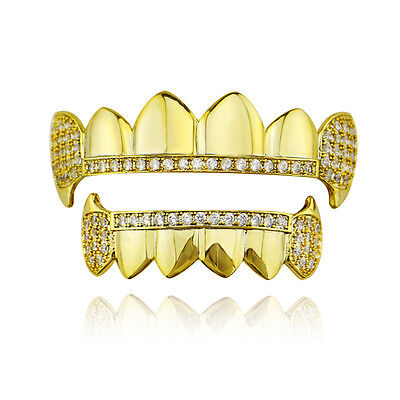 New Gold Silver Vampire Fangs Pave CZ 6 Top and Bottom Grillz Hip Hop Teeth Set