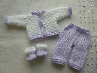 Hand knitted dolls clothes for 10-12 inch doll, Rosebud, Berenguer, OOAK