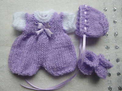 Hand knitted dolls clothes for 6-7 inch doll, Rosebud, Berenguer, OOAK