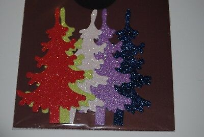 Xmas Die Cut Glitter Tree Pack Of 5 #72
