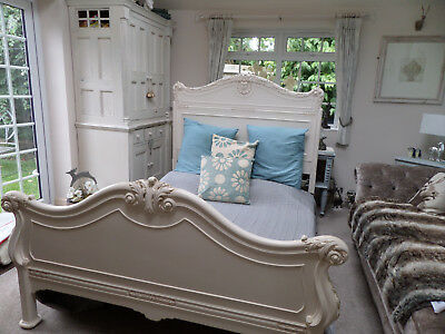 Shabby Chic Antique Bed 5Ft Frame Hand Painted Preowned