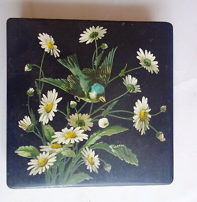 Victorian papier mache hand painted hanky box