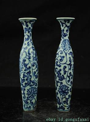One pair Fine Beautiful Chinese Blue and white porcelain vase painting flowers