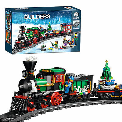 Creative Series The Christmas Winter Holiday Train Set Building Blocks Bricks