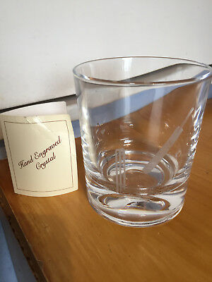 1996 Hand Engraved Crystal Cricket theme Whisky Glass signed by AD Basson vgc