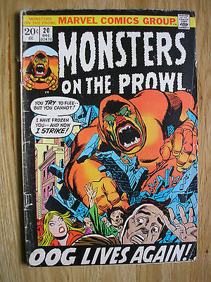 MARVEL COMICS  MONSTERS ON THE PROWL OOG LIVES AGAIN  VOL 1  No. 20  OCT  1972