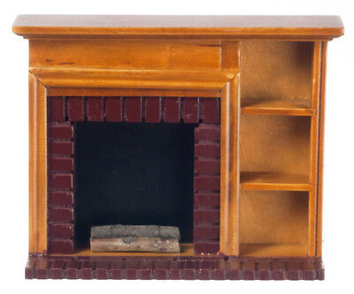 Dollhouse Miniatures Fireplace With Walnut Shelves #t6519