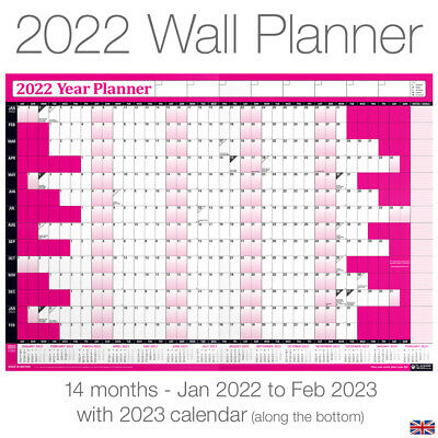 2019 Calendar Planner Yearly Annual Wall Chart B3 size+FREE 2 Year Desk Calender