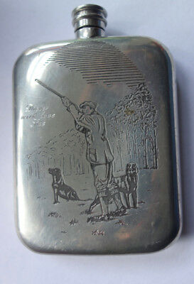 Vintage English Pewter Hip Flask With Hunting Theme