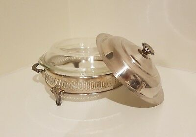 Vintage Silver Plated Serving Stand with PYREX by Corning Serving Dish Insert