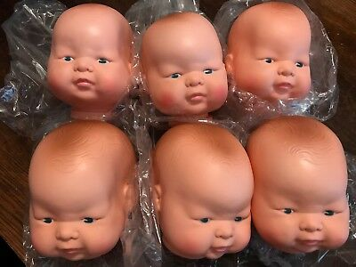 Vintage Lot of 6 Hard Vinyl/Plastic Baby Face Doll Heads 4""