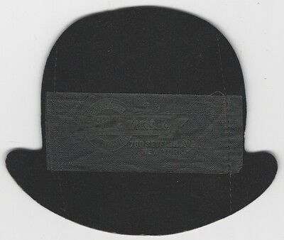New York Hatter's Felt Trade Card/Holder in the Shape of a Hat