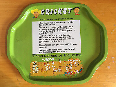 "1960s Metal Tray CRICKET as explained to a forein Visitor 12x10"" vgc"