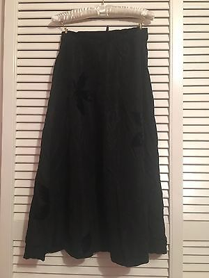 TRUE VINTAGE Lovely 1920s Black Skirt with Velvet Belt 20s 41A