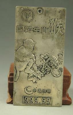 China Old Tibet silver carving Zodiac monkey  statue Amulet periapt Pendant