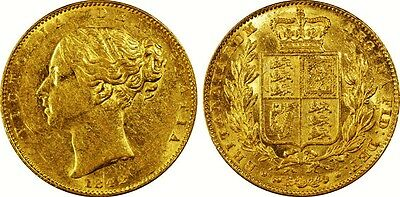 1842 Victoria Gold Sovereign  Rare Quality Pcgs Certified A/uncirculated