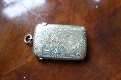 Silver Or Plated Engraved Vesta Case - Match Holder