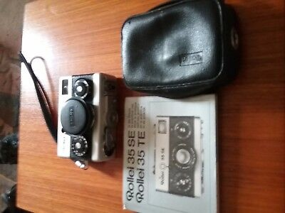 Rollei 35 SE,  Tessar  3.5 / 40mm, leather case and instruction book