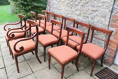 12 Gorgeous English Regency Style Carved Flame Mahogany Bar-Back Dining Chairs