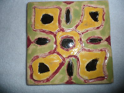 """Vintage 1946 Hand Made Painted Pottery Tile Yellow Green Flower Floral 5"""" Signed"""