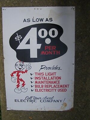 1950s Reddy Kilowatt Electric Co. Tin Sign RARE