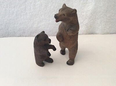 """2 x Antique Hand Carved Black Forest Bears. Adorable 3.5"""" & 2"""""""