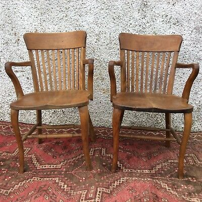 Pair of Old Antique Arts & Crafts Solid Oak Bankers Library Office Desk Chairs