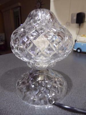 Antique 1930's Bohemian hand Cut heavy lead Crystal Boudoir lamp table light