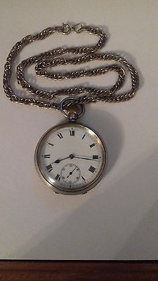 SUPERB Antique Solid Silver working pocket watch 1918 with chain & seconds dial