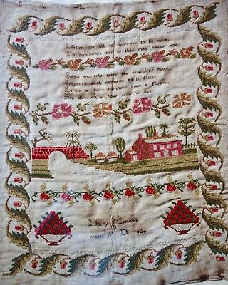 Large Victorian Sampler - Mary Mossop 1826