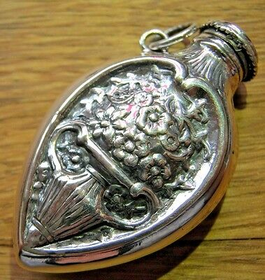 19thC Hanau Style Sterling Silver Chatelaine Teardrop Scent Perfume Snuff Bottle
