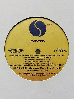 MADONNA. Like A Virgin. US Promotional Vinyl. White Sleeve.