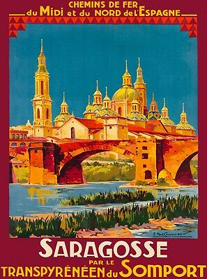 Zaragoza Saragosse Spain Vintage Railroad Spanish Travel Advertisement Poster