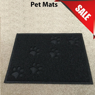 Black Square PVC Placemat Dog Puppy Pet Feeding Cat Bowl Food Mat Wipe Clean