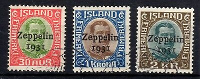 1931 Iceland Complete set Zeppelin stamps Very fine used CV $425