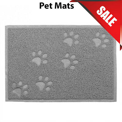 Grey Square PVC Placemat Dog Puppy Pet Feeding Cat Bowl Food Mat Wipe Clean