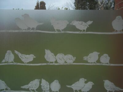 1.5mX45cm FROSTED GLASS BIRDS PRIVACY VINYL STATIC CLING FABLON D-C-FIX WRAP