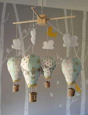 Baby mobile for childs nursery - Hot Air Balloons in Mint White Gold