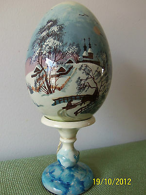 G. DeBrekht WHITE WODDEN EGG WITH A WINTER SCENE Laquered, Hand-Painted, w/Stand