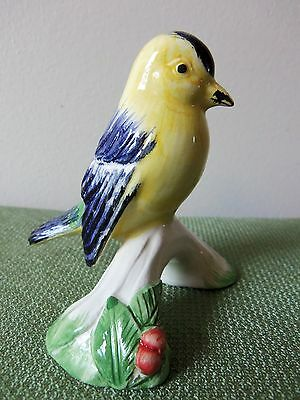 Yellow,Blue & Green Porcelain Bird Figurine by A DUE TOSIN of ITALY-Item#2495/6