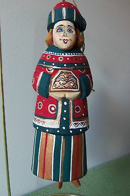 G. DeBrekht RUSSIAN WOMEN ORNAMENT - Hand Carved Wood and Hand Painted #3157-1