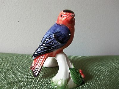 Red and Blue Porcelain Bird Figurine by A DUE TOSIN of Italy-Item#2495/3