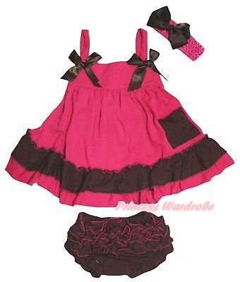 Plain Baby Girls Hot Pink Brown Swing Top Bloomer Outfit Set NB-2Y
