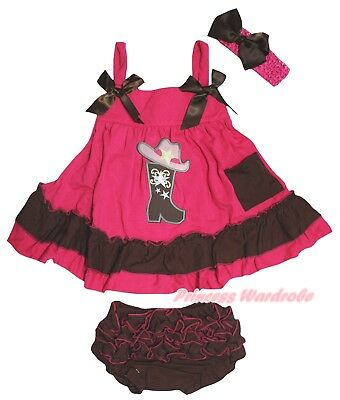 Cowgirl Shoes Baby Girls Hot Pink Brown Swing Top Bloomer Outfit Set NB-2Y